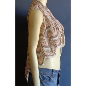 Anthropologie Moth Crocheted High Low Open Vest M